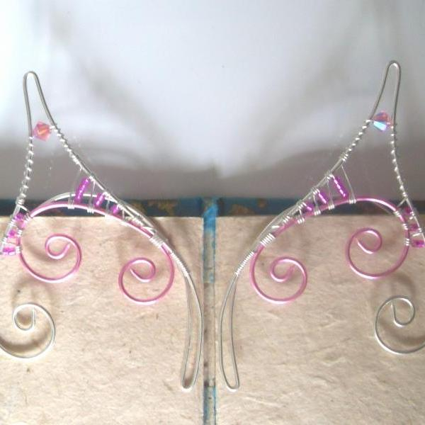 Elf Ear Cuffs! Pink & Silver Handmade Fantasy Ear Cuffs. Faerie, Pixie, Nymph, Sprite, or Mermaid Fancy Dress Jewellery